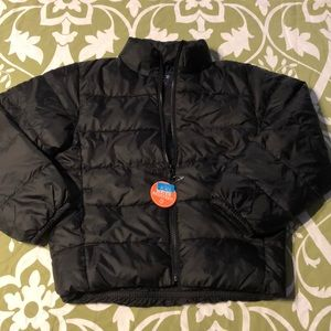 Children place coat
